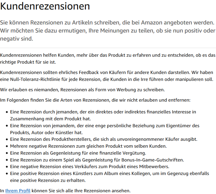 Amazon Richtlinien